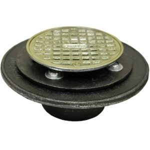 """2"""" FIP Shower/Floor Drain with 6-1/2"""" Pan and 4"""" Polished Brass Cast Round Strainer"""