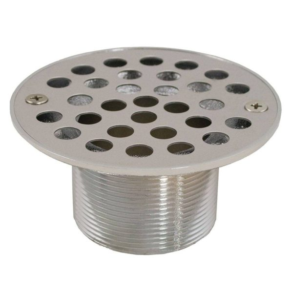 "2"" IPS Metal Spud with 4"" Stainless Steel Round Stamped Strainer"