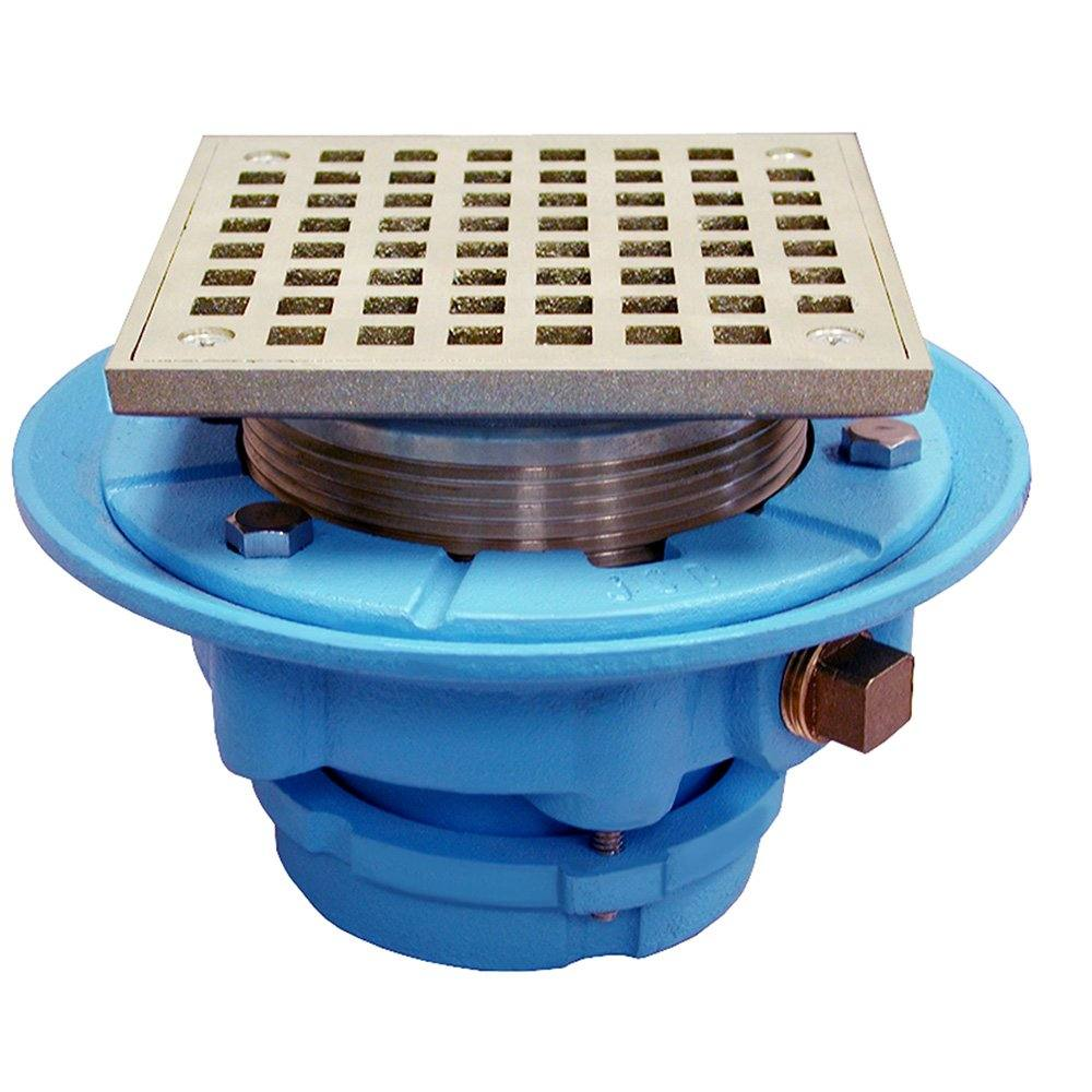 "2"" No Caulk Mechanical Joint Code Blue Floor Drain with 7"" Pan and 5"" Nickel Bronze Square Strainer - Height 4-1/4"" - 5-1/4"""
