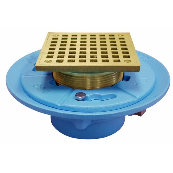 """2"""" No Hub Code Blue Floor Drain with 7"""" Pan and 5"""" Polished Brass Square Strainer - Height 3-1/4"""" - 5-1/4"""""""