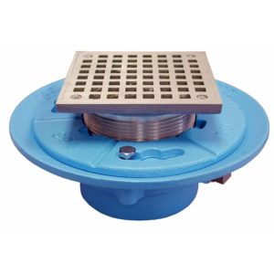 "2"" No Hub Code Blue Floor Drain with 9"" Pan and 6"" Nickel Bronze Square Strainer - Height 4-1/8"" - 6-3/8"""