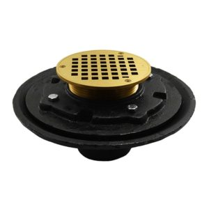"4"" Heavy Duty Inside Caulk Floor Drain/Shower Drain with 10"" Pan and 6"" Polished Brass Round Strainer - Height 4-3/4"" - 6-3/4"""