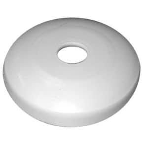 "1-1/4"" White Tubular Plastic Escutcheon, Shallow Flange, Box of 25"