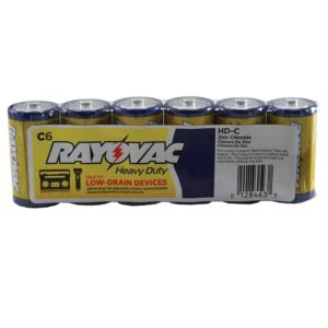 Rayovac Heavy Duty Industrial Batteries, C Size, Pack of 6