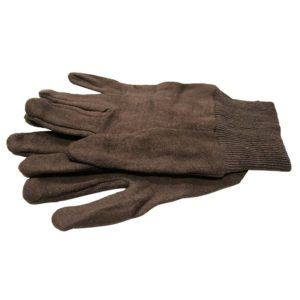 Display of Brown Cotton Jersey Work Gloves, 216 Pairs