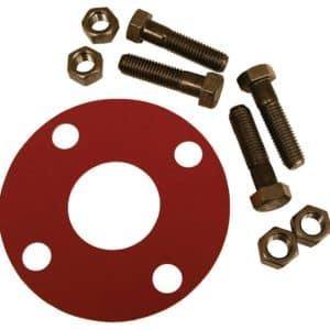 "8"" Red Rubber Full Face Gasket Kit, 3/4"" x 3-1/2"" Bolt Size"