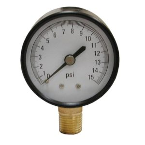 "15 PSI Pressure Gauge, 2"" Face"