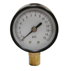 "15 PSI Pressure Gauge, 2-1/2"" Face"