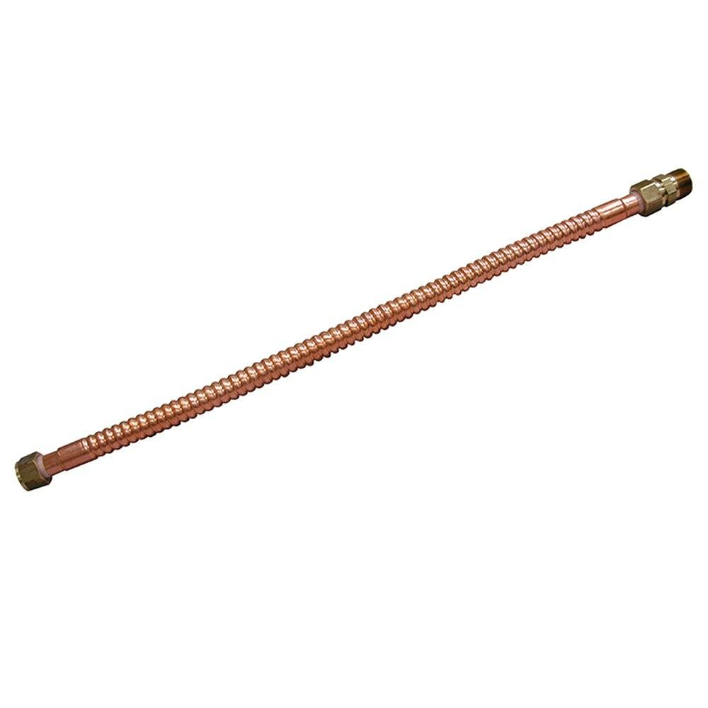 """3/4"""" x 3/4"""" x 12"""" Copper Corrugated Water Heater Connector"""