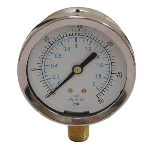 "100 PSI Liquid Filled Pressure Gauge, 2-1/2"" Face"