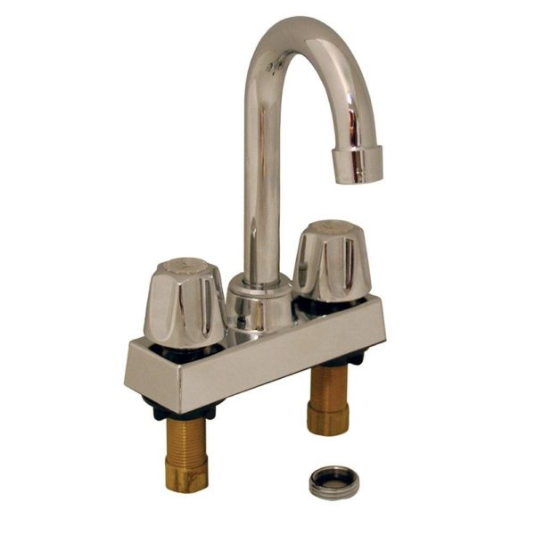 Chrome Plated Laundry Tray Faucet with Gooseneck Spout