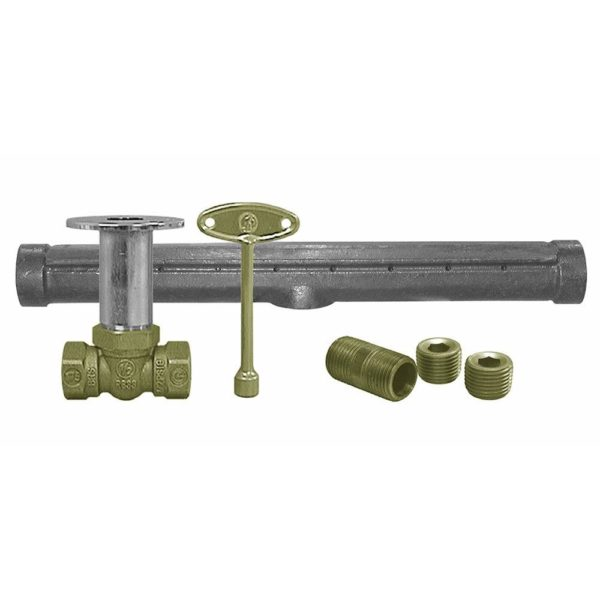 Chrome Plated Straight Log Lighter Valve with T-Burner for Natural Gas