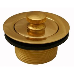 "Polished Brass 1-1/2"" Lift and Turn Tub Drain"