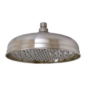 """Brushed Nickel 10"""" Round Shower Head with Rubber Tips"""