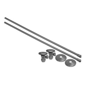 """Brushed Nickel 3/8"""" x 20"""" Lavatory Supply and 1/2"""" x 3/8"""" Angle Stop Kit"""