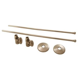 """Polished Stainless 3/8"""" x 20"""" Lavatory Supply and 3/8"""" x 5/8"""" Straight Stop Kit"""