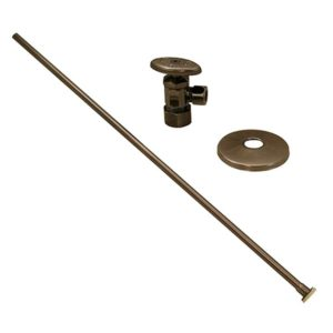 """Antique Pewter 3/8"""" x 20"""" Closet Supply and 3/8"""" x 5/8"""" Angle Stop Kit"""