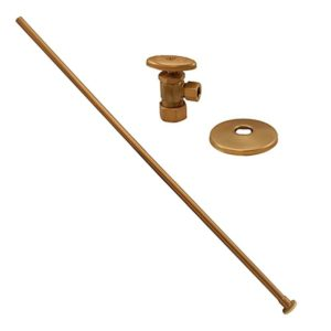 "Brushed Bronze 3/8"" x 20"" Closet Supply and 3/8"" x 5/8"" Angle Stop Kit"