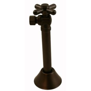 "Oil Rubbed Bronze Quarter Turn Angle Stop with 5"" Sweat Extension and Escutcheon"