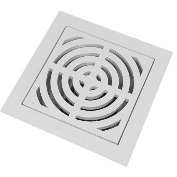 """4"""" PVC Pipe Fit Floor Sink with Full Top Grate and Flat Bottom Grate"""