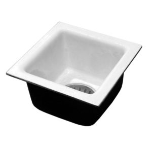 "4"" Inside Caulk Porcelain Coated Floor Sink, 8"" Deep"