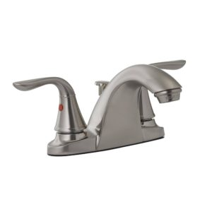 Brushed Nickel Two Handle Bathroom Faucet with Pop-Up