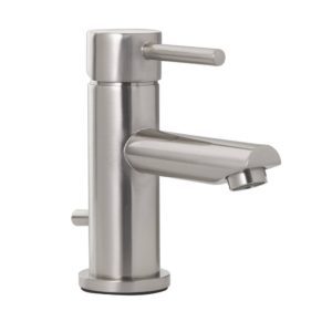 Brushed Nickel Single Handle Bathroom Faucet with Pop-Up, Single Hole