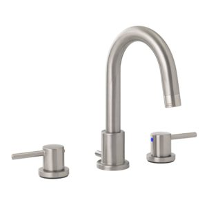 Brushed Nickel Two Handle Wide Spread Bathroom Faucet with Pop-Up