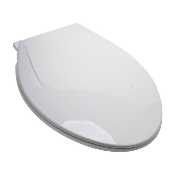 EZ Close® Standard Plastic Seat, White, Elongated Closed Front with Cover